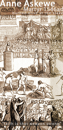 Illustration of the Martyrdom of Anne Askewe, John Lacels, John Adams, and Nicholas Belenian (English Protestant Martyrs) - burned alive at the stake in 1546ad