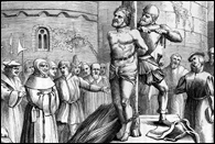 Martyrdom of William Tyndale by strangulation and burning at the stake, 1536, Foxe's Acts & Monuments