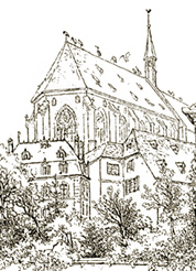 Illustration of the New Church, Strasburg, destroyed by fire in 1871