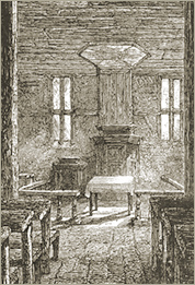 Illustration of the Interior of the ancient Vaudois Temple of Schoneberg (Wurtemberg) with Arnaud's Tomb