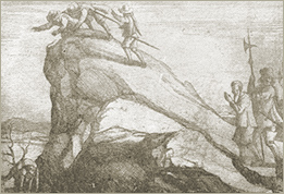 Illustration of Vaudois thrown over a precipice (after Jean Leger)