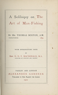 Book Title Page of A Soliloquy on the Art of Fishing for Men by Thomas Boston