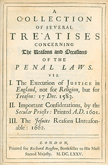A Collection of Several Treatises Concerning The Reasons and Occasions of the Penal Laws by William Cecil, William Watson, etc (1675 Edition)