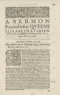 Book Title Page of A Sermon Preached before Queen Elizabeth I, AD 1590, on Psalm 77:20