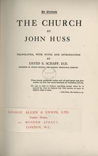 Title Page of De Ecclesia or The Church by John Huss.