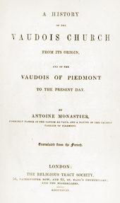 A History of the Vaudois Church by Antoine Monastier (1848 Edition)