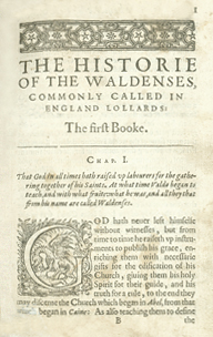 The History of the Waldenses, Commonly called in England Lollards by Jean Paul Perrin (1624) of Lyon